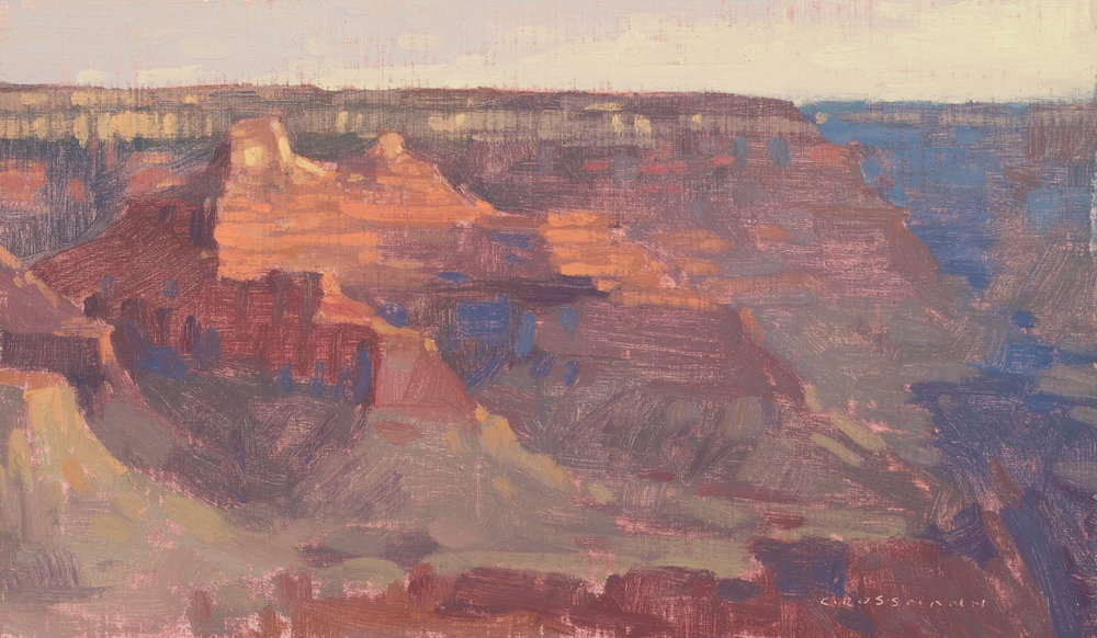 "(SOLD) David Grossmann ""Grand Canyon, Morning Light"" Oil 7""x12"""