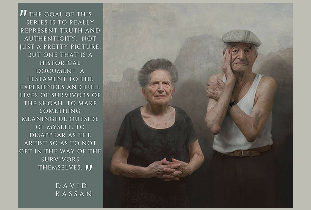 "Love and Resilience, Portrait of Louise and Lazar Farkas, Survivors of the Shoah.  46x42"", oil on panel"