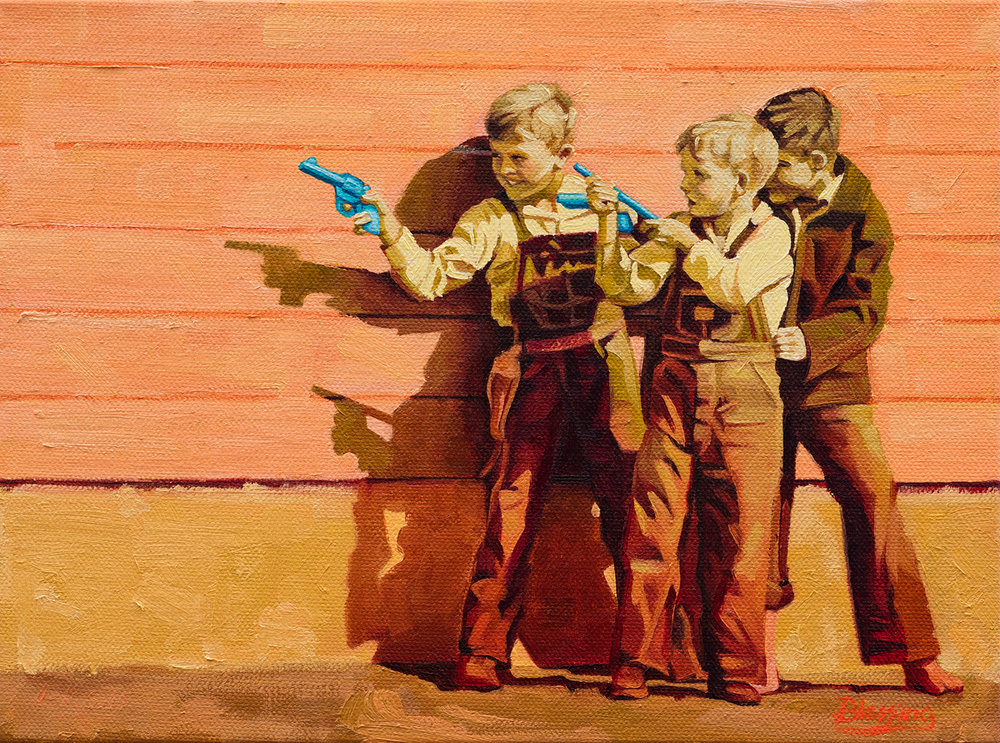 "(SOLD) Michael Blessing ""Shootout at the OK Corral"" (right) 9""x12"" Oil"