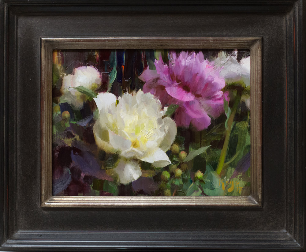 "(SOLD) Daniel Keys ""Peonies and Hypericum"" 9""x12"" Oil"