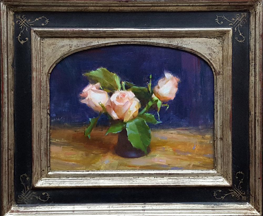 "(SOLD) Susan Lyon ""Pink Roses"" 11""x14"" Oil"