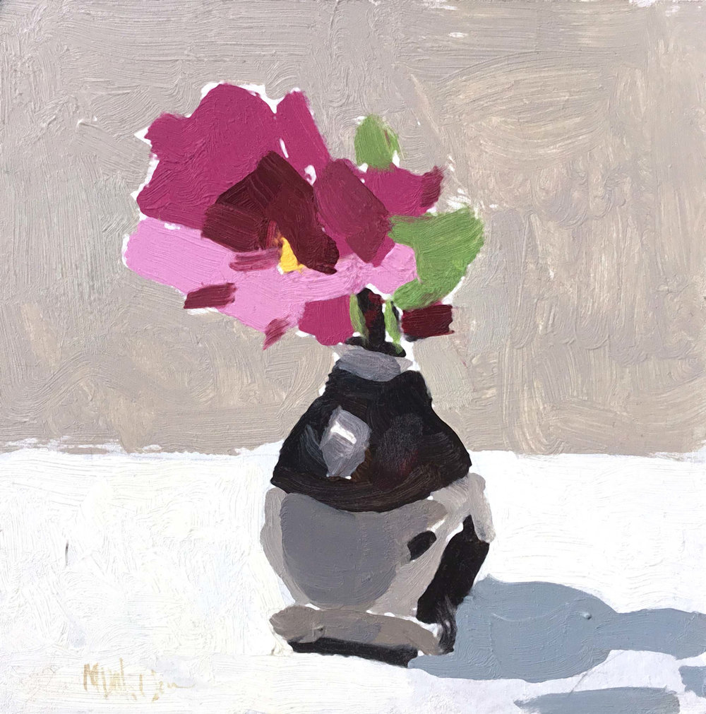 "Mark D. Nelson ""Untitled (violet flower)"" 6""x6"" Oil"