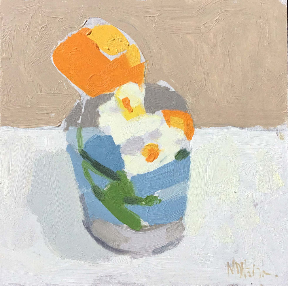 "Mark D. Nelson ""Untitled (White Flower)"" 6""x6"" Oil"