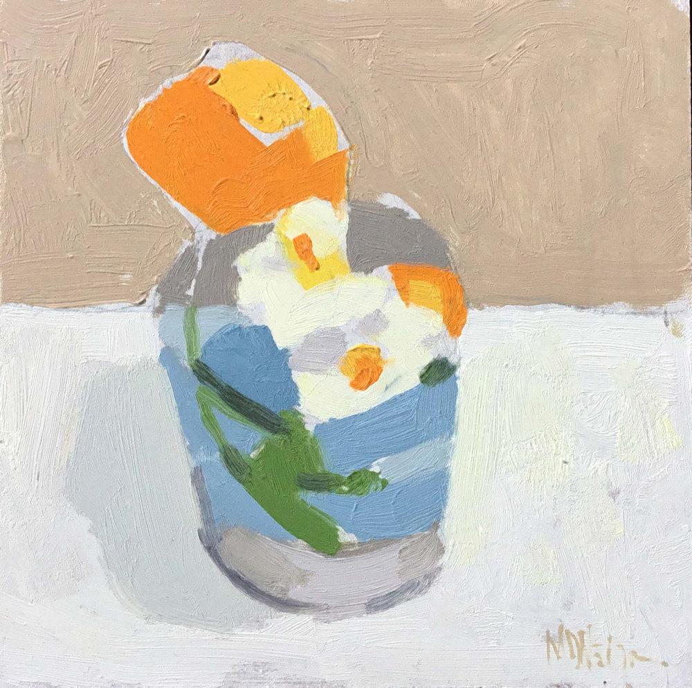 """Mark D. Nelson """"Untitled White Flower"""" 6""""x6"""" Oil"""