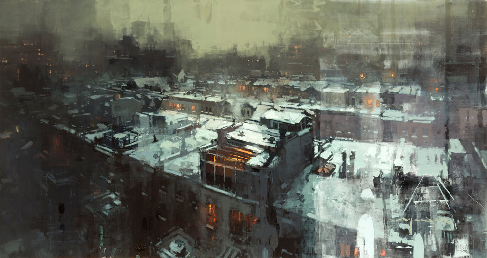 """Nights in New York Winters"" 26""x49"" Oil"