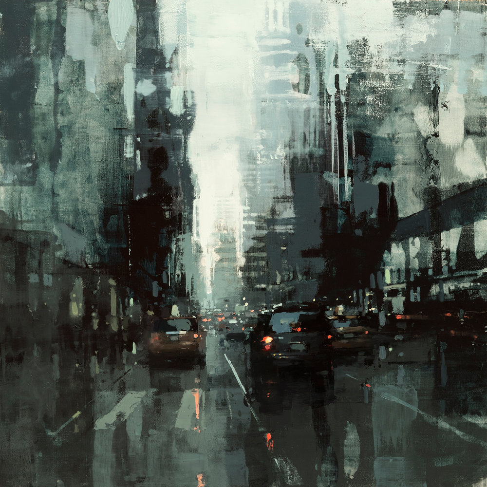 """Jeremy Mann """"NYC in Grey and Green #2"""" 18""""x18"""" Oil"""