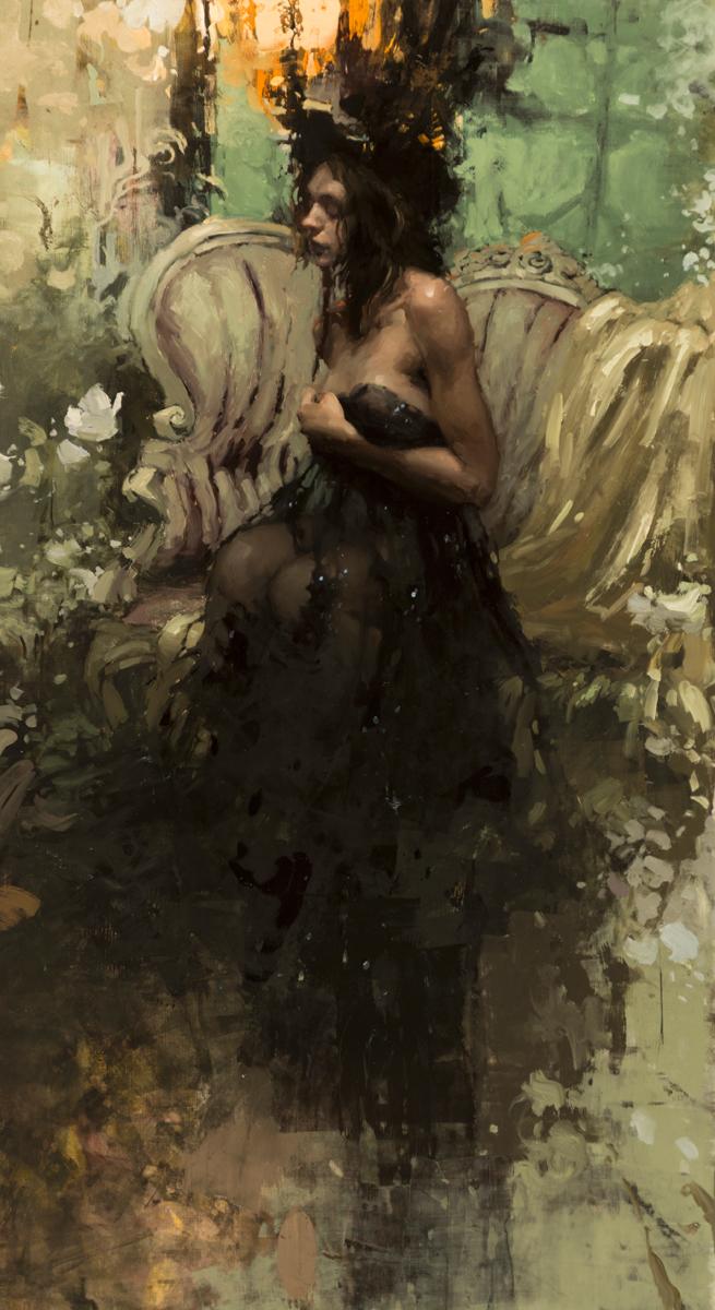 """Jeremy Mann """"In the Garden by Twilight"""" 30""""x20"""" Oil"""