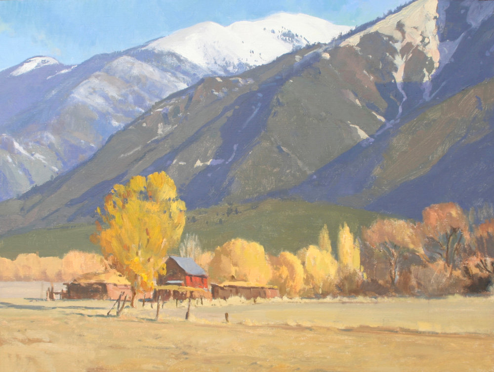 "(SOLD) G. Russell Case ""Taos Mountains in Autumn"" 18""x24"" Oil"