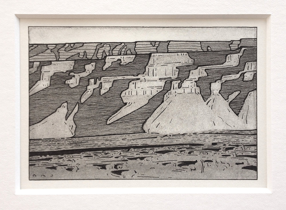 "(SOLD) Brett Johnson ""Book Cliff Shadows"" 4""x6"" inches Ink and charcoal"
