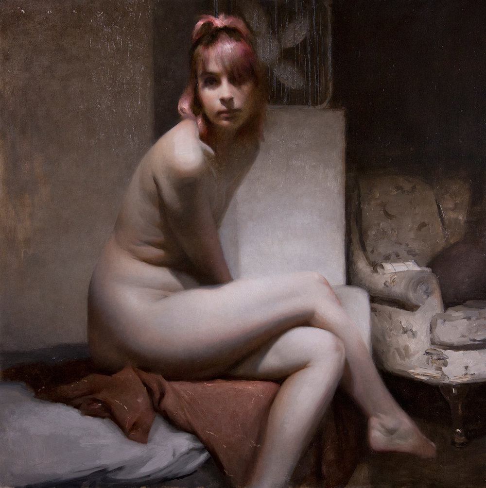"(SOLD) Joseph Todorovitch ""Bather"" 24""x24"" Oil"