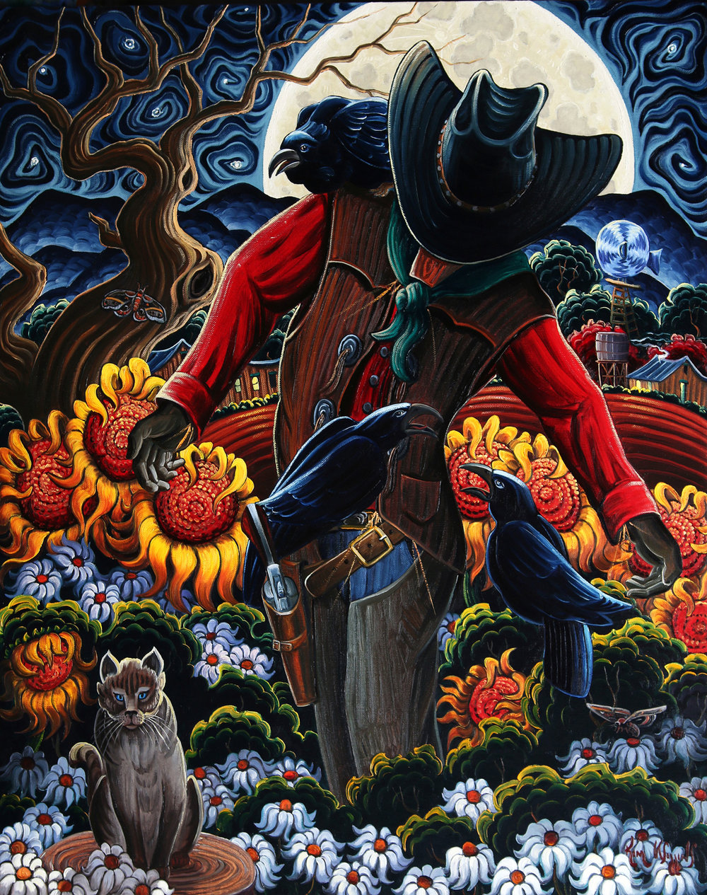 "Kim Wiggins ""The Nine Lives of a Gunslinger"" 30""x24"" Oil"