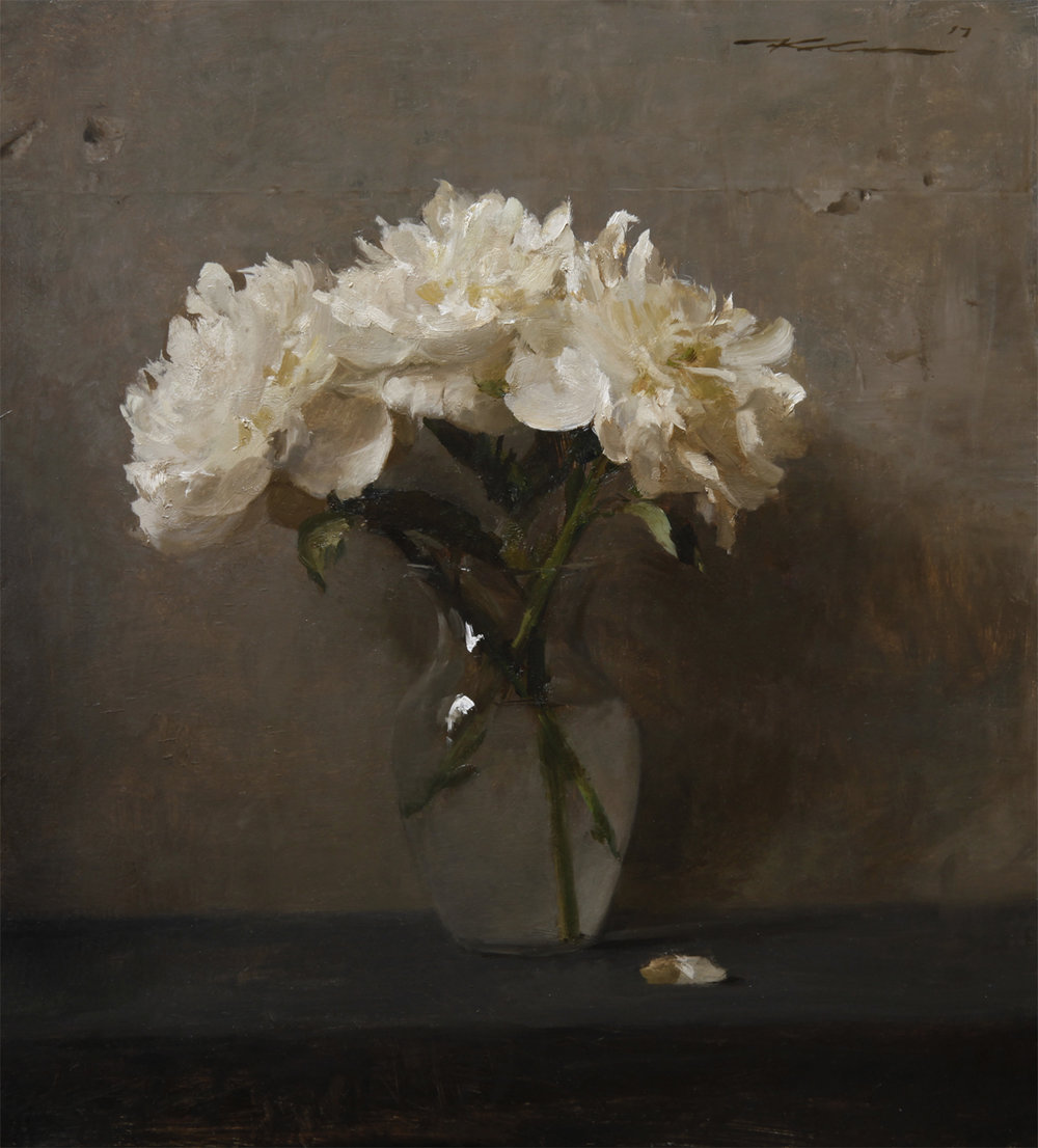 "(SOLD) Michael Klein ""White Peonies"" 19""x17"" Oil"