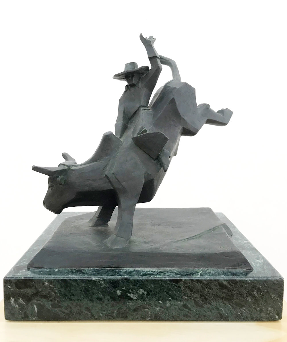"Ed Mell ""Bull Rider"" Bronze 11""x12"""