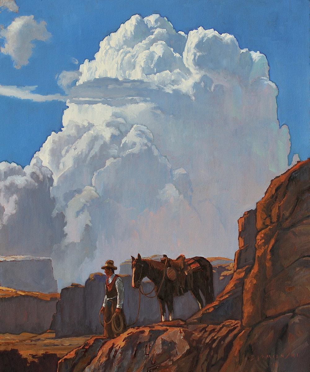 """Dennis Ziemienski """"Regarding the Trail"""" 36""""x30"""" Oil"""