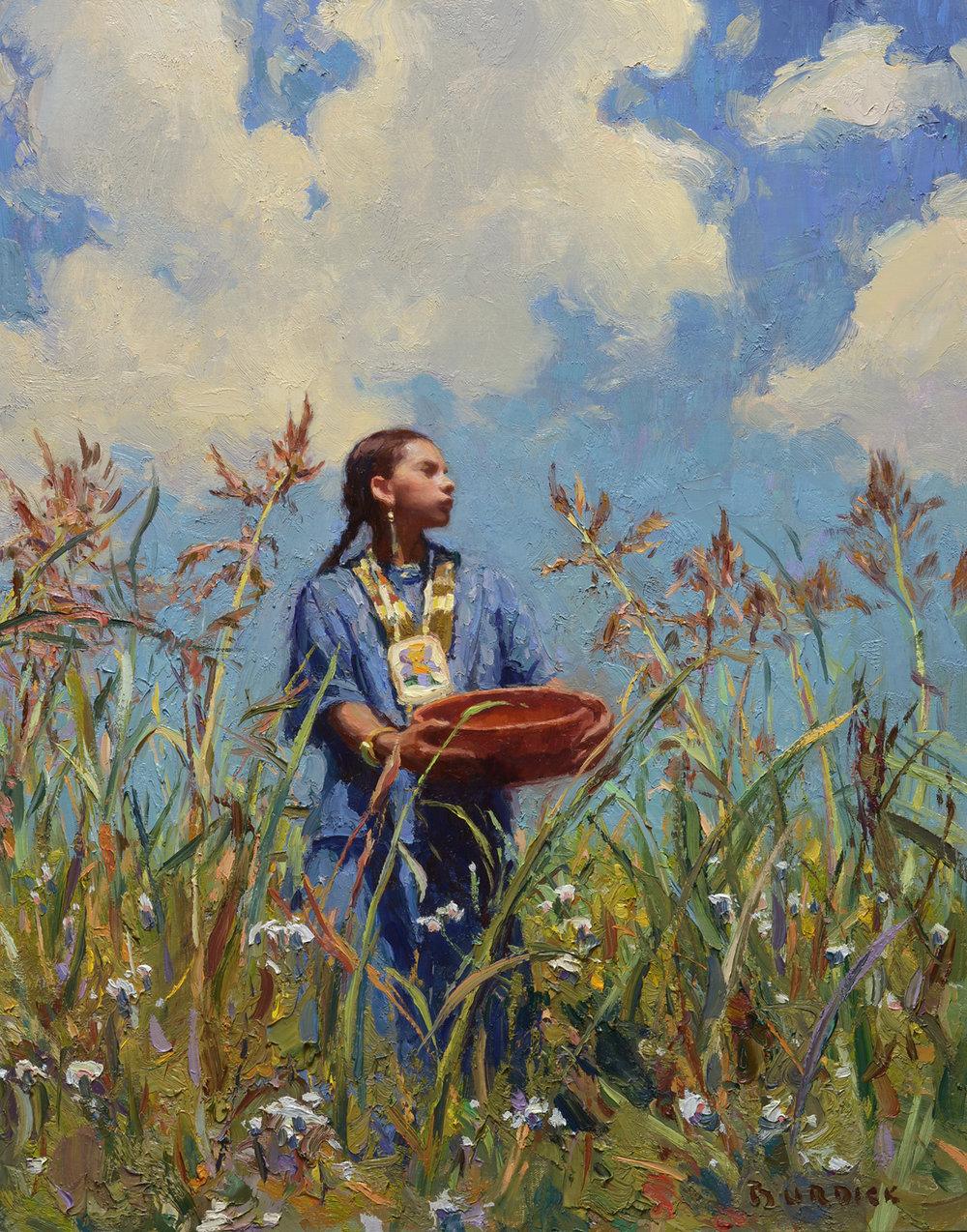 "(SOLD) Scott Burdick ""Grandma's Clouds"" 24""x18"" Oil"