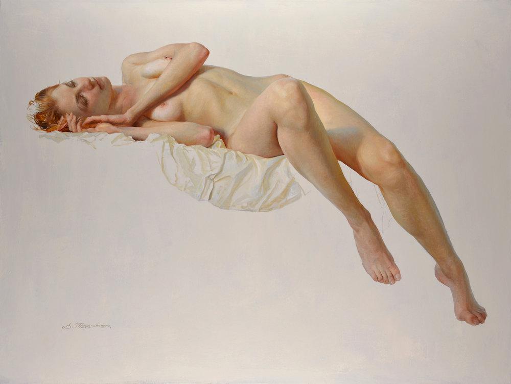 """(SOLD) Serge Marshennikov """"Nude Model in Artist's Studio"""" 23""""x31"""" Oil"""