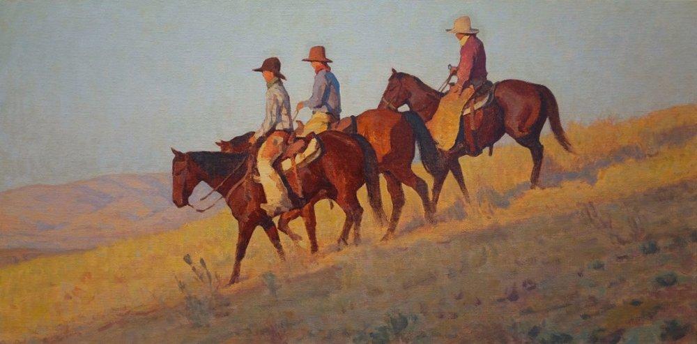 "Glenn Dean ""Saddle Brothers"" 20""x40"" Oil"