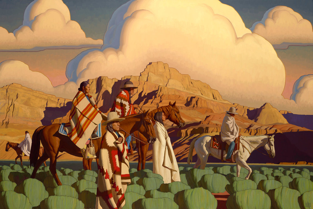 """(SOLD) Logan Maxwell Hagege """"On the Plains of Sage"""" 60""""x90"""" Oil"""