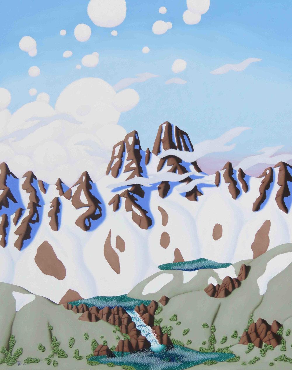 "Tracy Felix ""Three Alpine Lakes"" 30""x24""Oil"