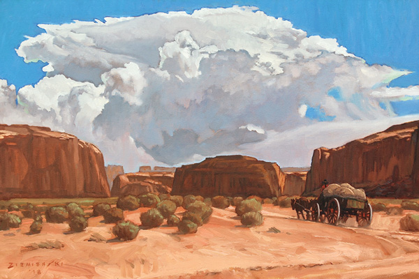 Dennis Ziemienski, Summer Thunderhead, Monument Valley, oil, 20 x 30.