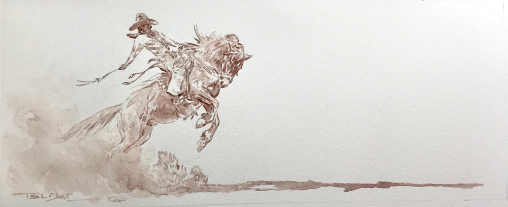 "(SOLD) Teal Blake ""Riding Longshadow"" 9""x22"" Watercolor"