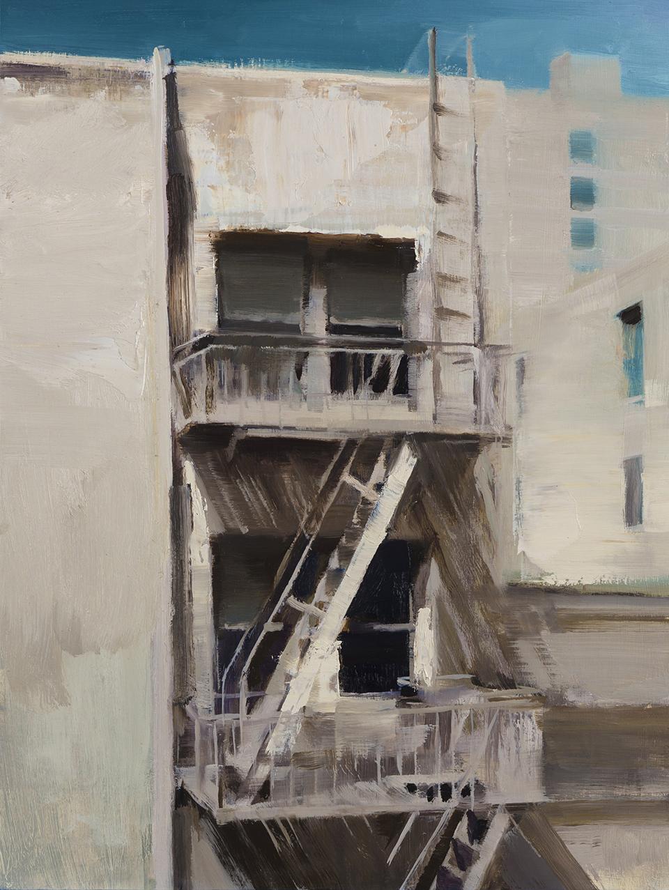 """(SOLD) Kim Cogan """"Rear Window"""" 16""""x12"""" Oil"""