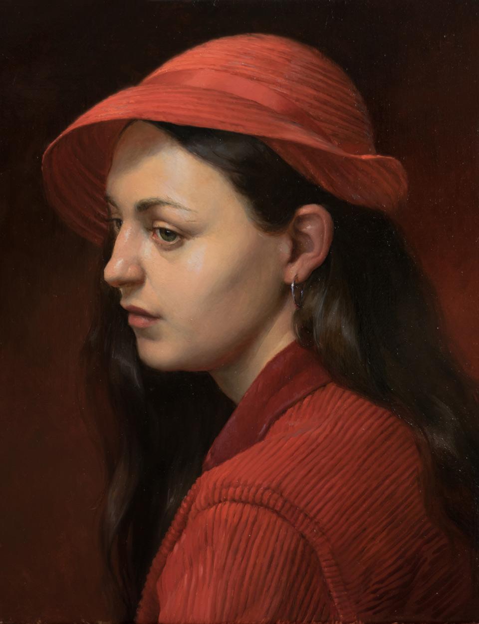 """Kathryn Engberg """"Scarlet"""" 14""""x11"""" Oil"""
