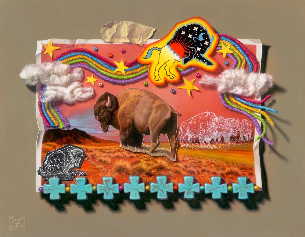 "(SOLD) Natalie Featherston ""Cosmic Buffalo"" 11""x14"" Oil"