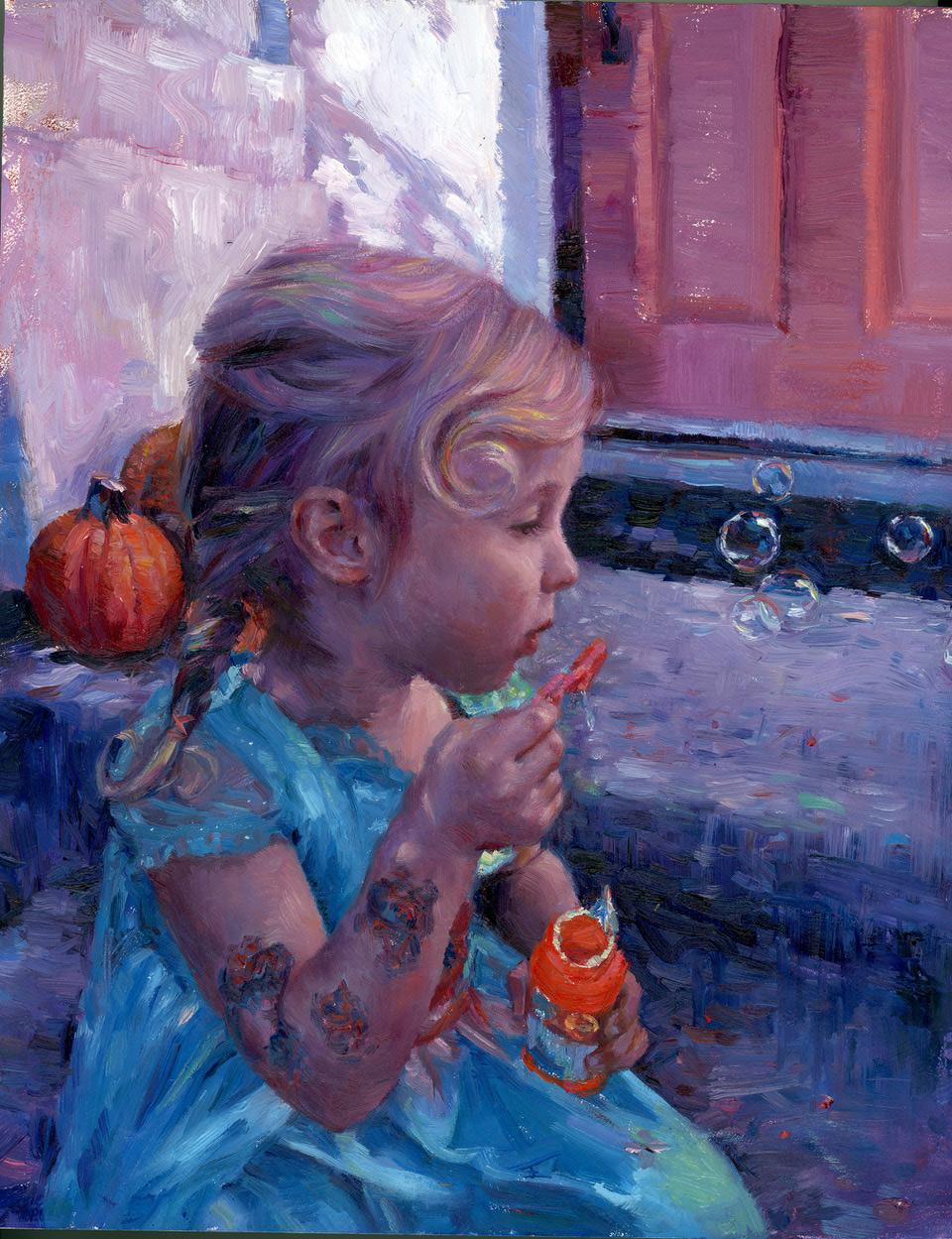 """Natalia Fabia """"Bubbles"""" 10""""x8"""" Oil"""