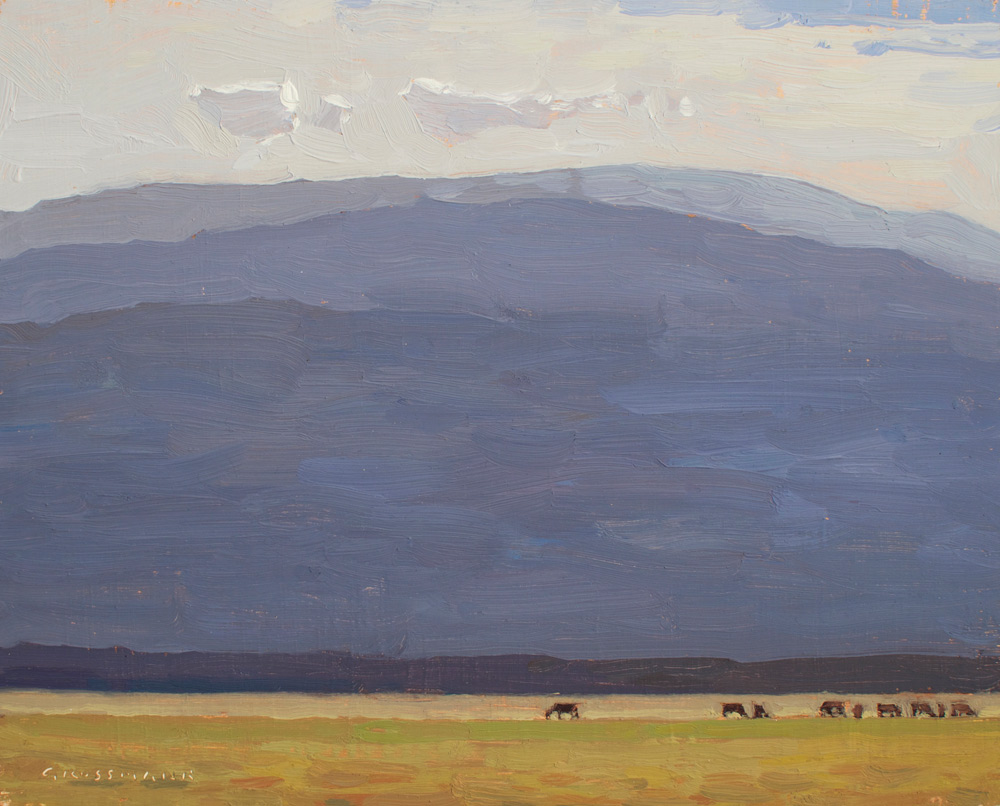"(SOLD) David Grossmann ""Mountain Morning Pasture"" 8""x10"" Oil"