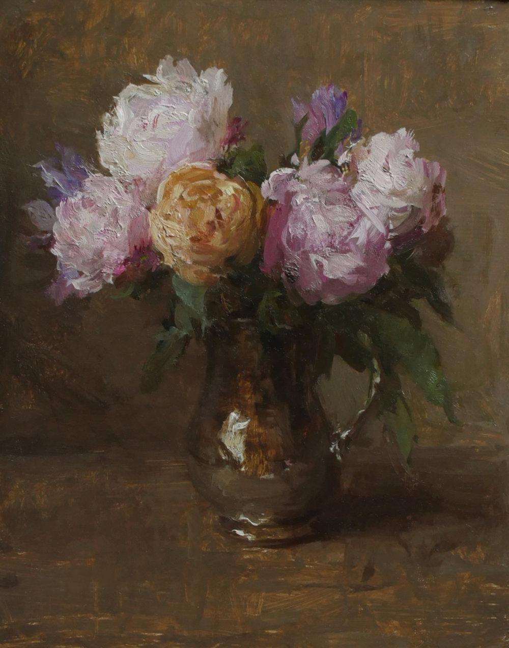 """(SOLD) Michael Klein """"Pink Peonies in Bloom"""" 10""""x8"""" Oil"""