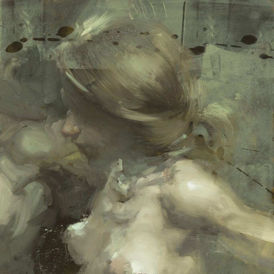 "(SOLD) Jeremy Mann ""Notes in Memoriam #4"" 6""x6"" Oil"