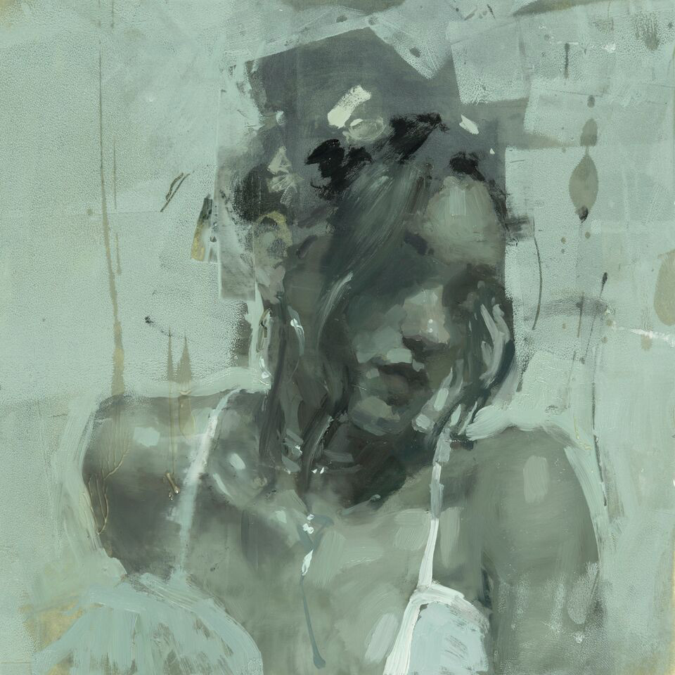 "(SOLD) Jeremy Mann ""Notes in Memoriam #5"" 6""x6"" Oil"