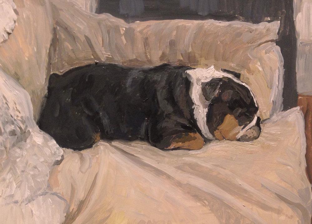 """Rachel Personett """"Peanut the English Bulldog"""" 4.25""""x6.5"""""""