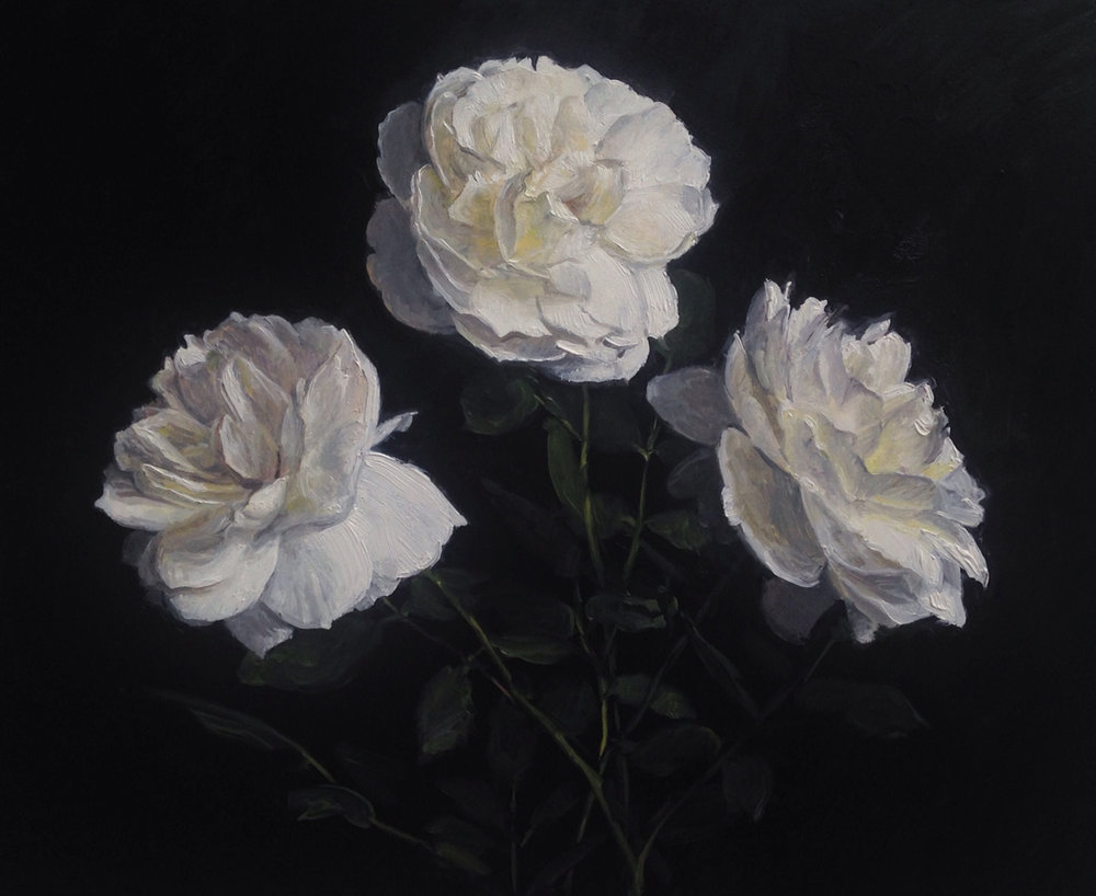 "(SOLD) Rachel Personett ""Three Garden Roses"" 8""x10"" Oil"