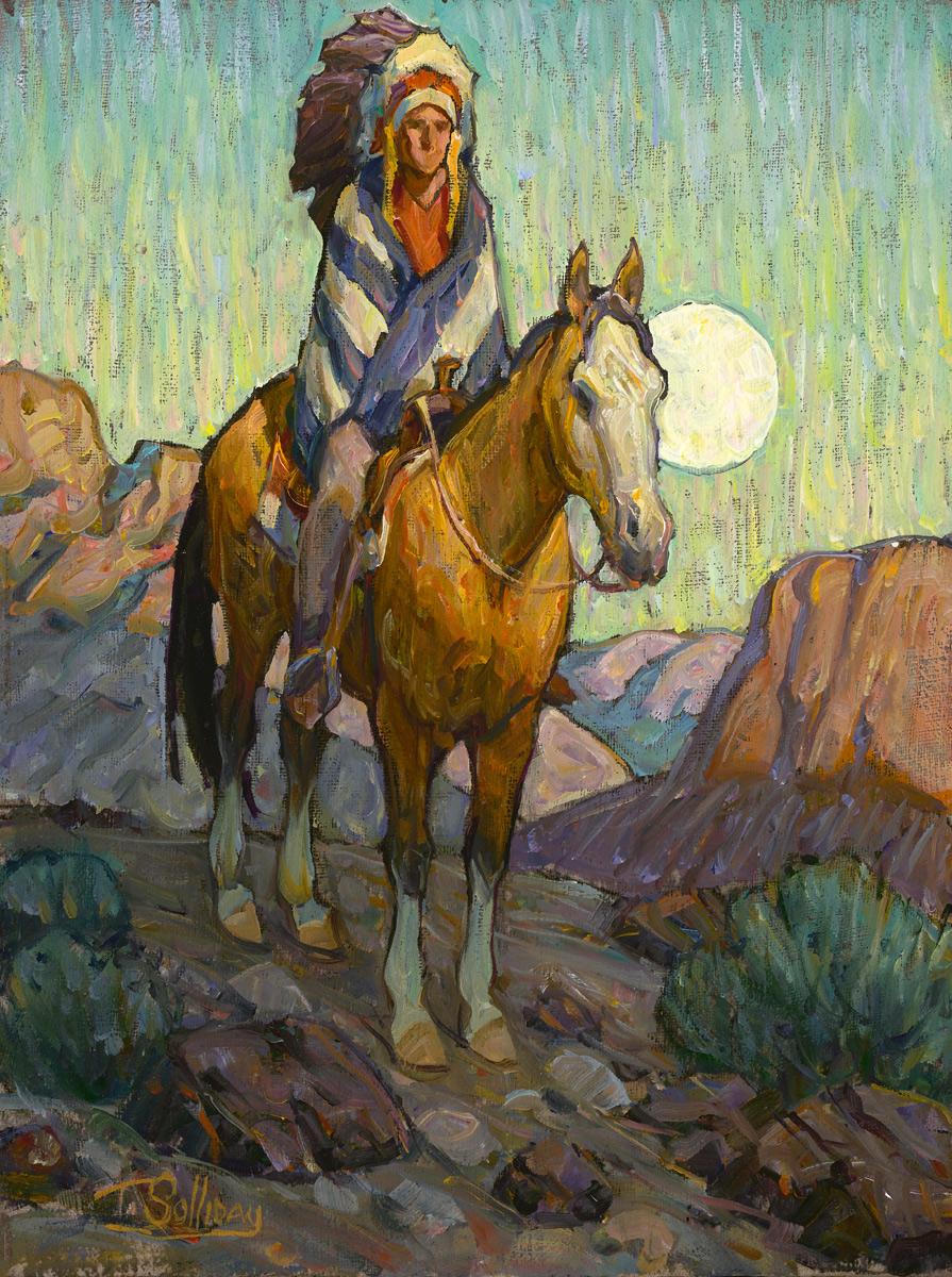 "(SOLD) Tim Solliday ""Wilderness Moon"" 12""x9"" Oil"