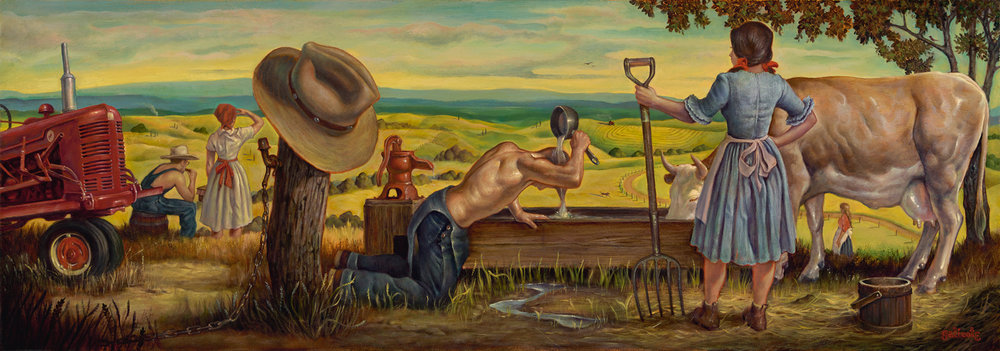 """Afternoon Pastoral"" 15""x43"" Oil"