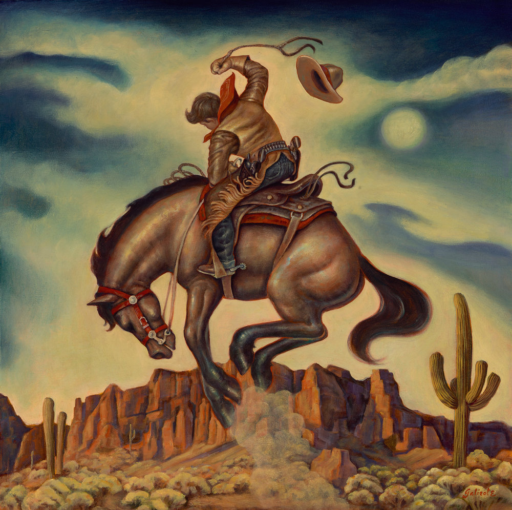 "(SOLD) ""Bronc Moon"" 32""x32"" Oil"