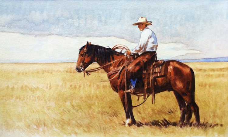 "(SOLD) ""The Cowboy Kind"" 10""x14"" Watercolor"