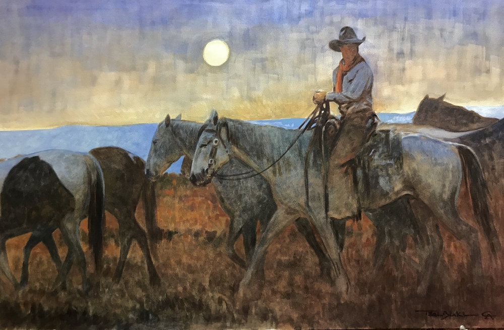 "(SOLD) ""Horsethief Moon"" 20""x30"" Watercolor"