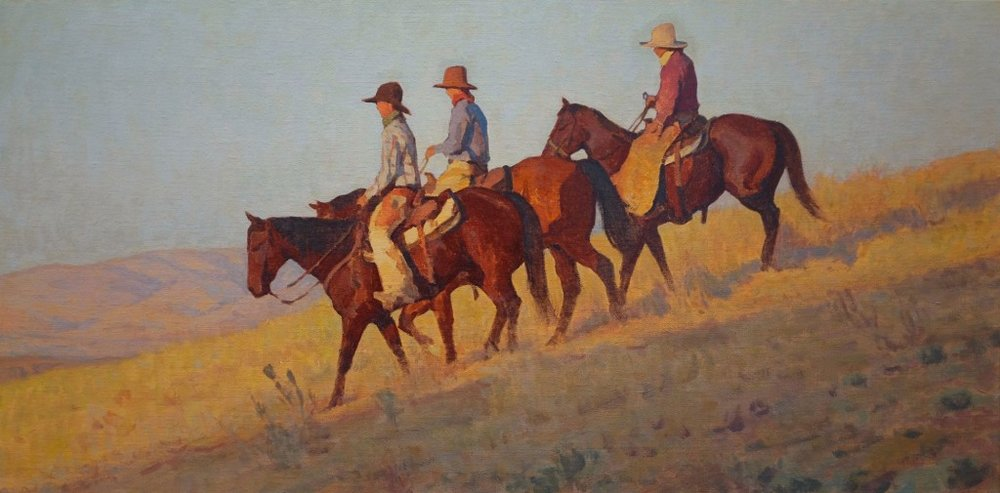 """(SOLD) """"Saddle Brothers"""" 20""""x40"""" Oil"""