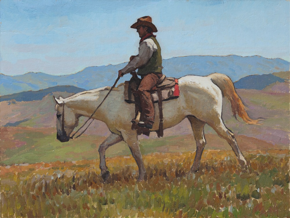 """(SOLD) """"Scouting the Range"""" 12″x16″ Oil"""