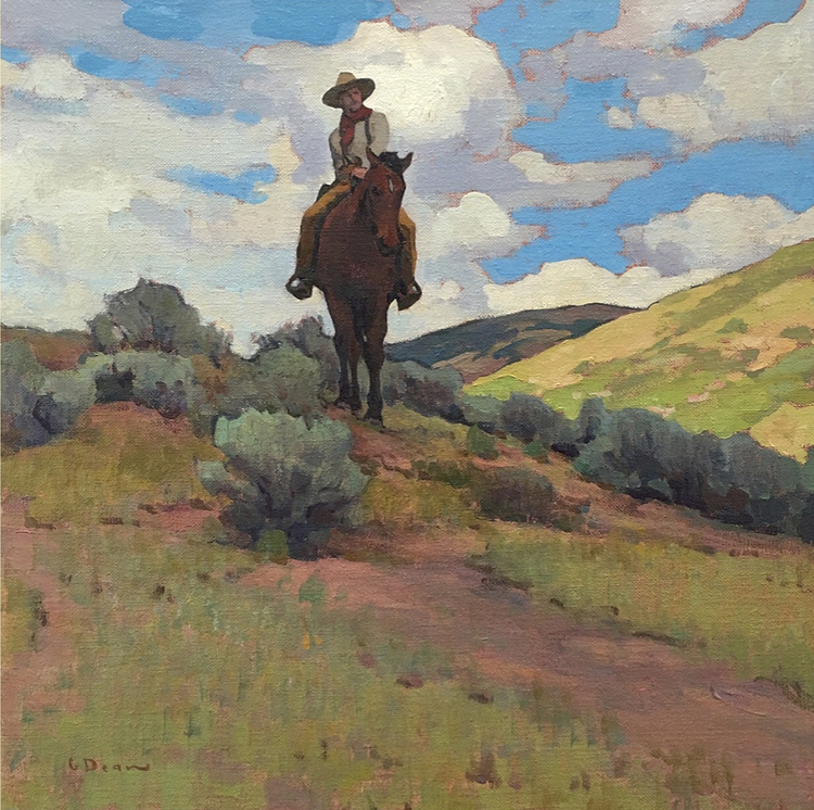 """(SOLD) """"Roving the Rangeland"""" 20″x20″ Oil"""