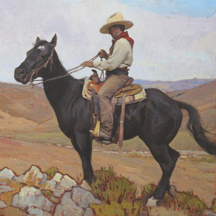 """(SOLD) """"Vaquero"""" 24″x24″ Oil"""