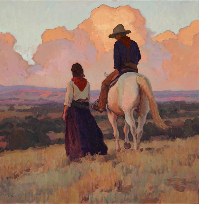 """(SOLD) Glenn Dean """"Sundown at the Ranch"""" 30""""x30"""""""