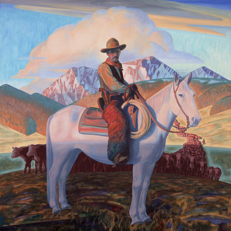 "(SOLD) ""Harvey House Cowboy"" 28""x28"" Oil"