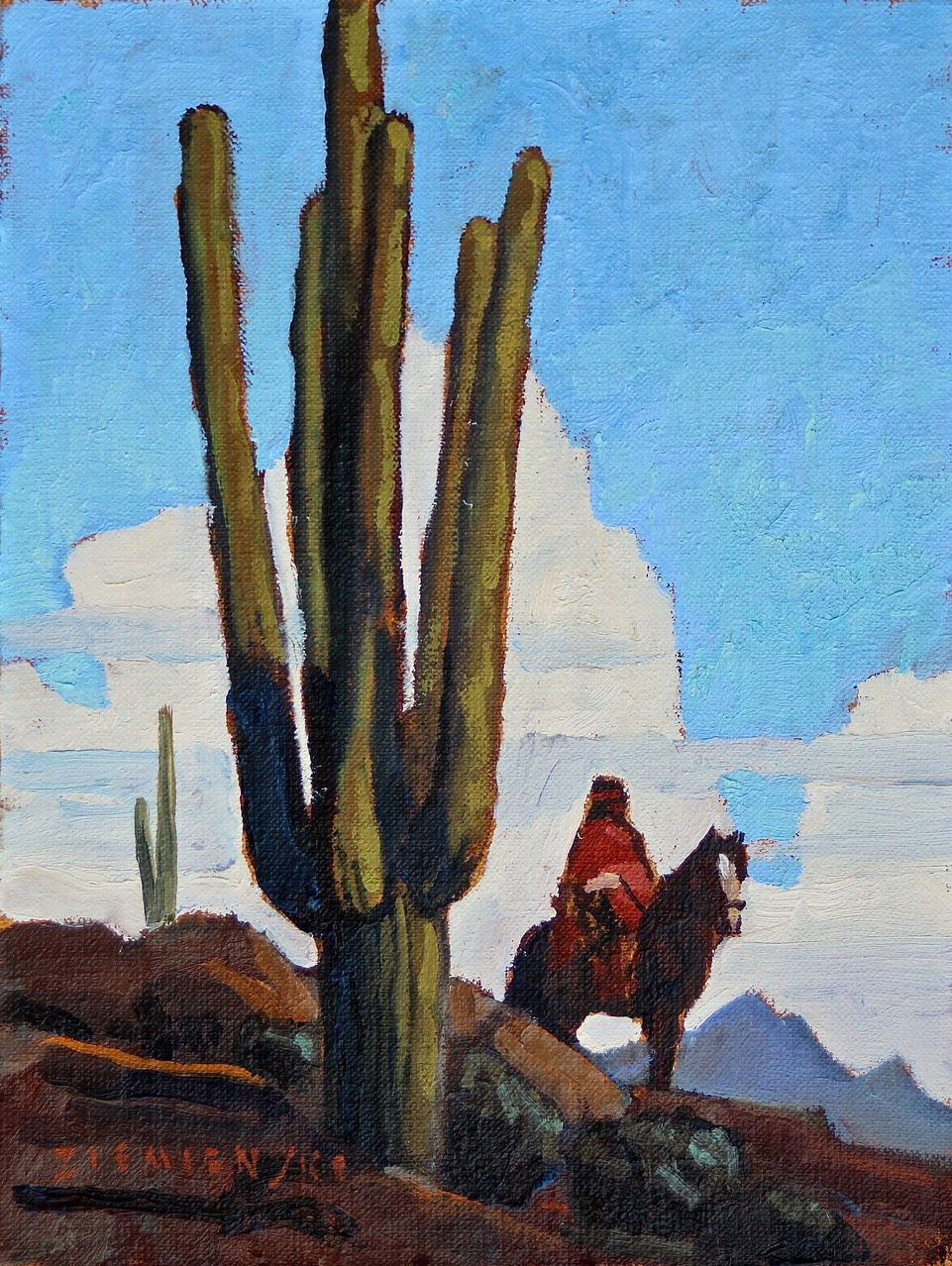 "(SOLD) Dennis Ziemienski ""Rider in the Desert"""