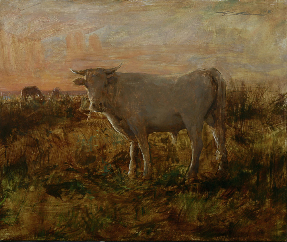 "(SOLD) ""Grazing, Sunrise"" 16""x19"" Oil"