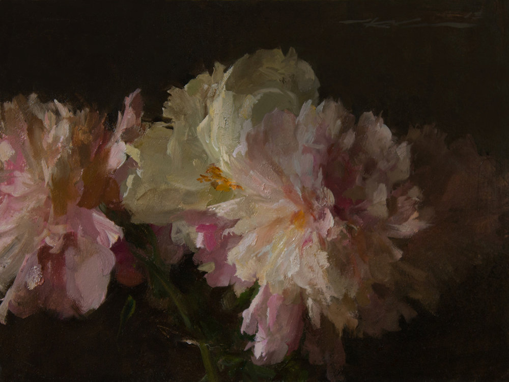 "(SOLD) ""Peonies"" 9""x12"" Oil"