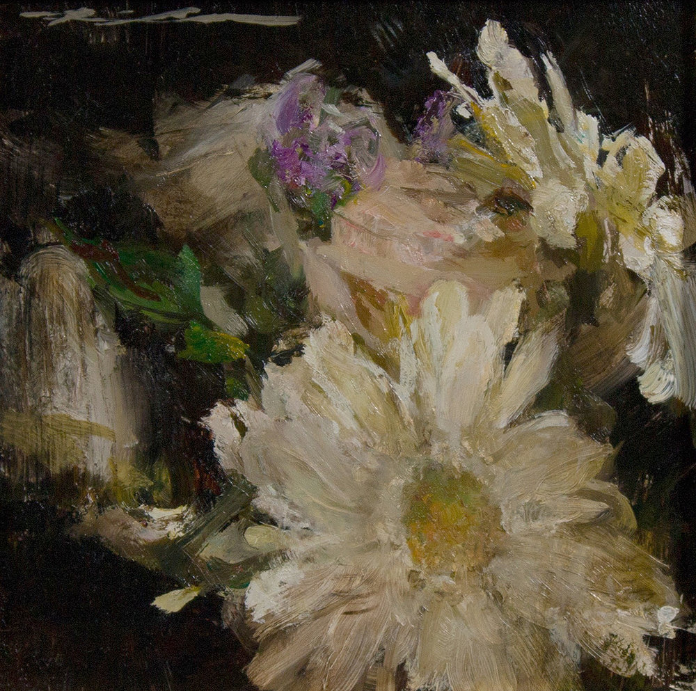 """White Arrangement"" 7""x7"" Oil"